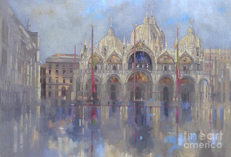 St. Mark's Square; Venice; Venetian Architecture; Italian; Basilica; Saint; Venetian; Facade; Domes; Dome; Rain Painting - St Marks -venice by Peter Miller