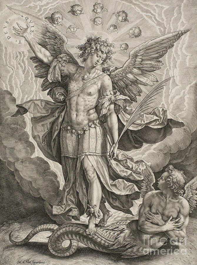 St Michael Triumphing Over The Dragon Drawing By