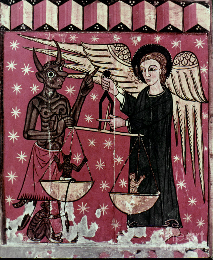 13th Century Painting - St. Michael Weighing Souls by Granger