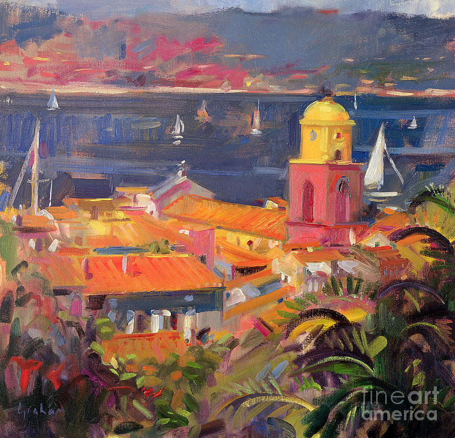 San Painting - St Tropez Sailing by Peter Graham