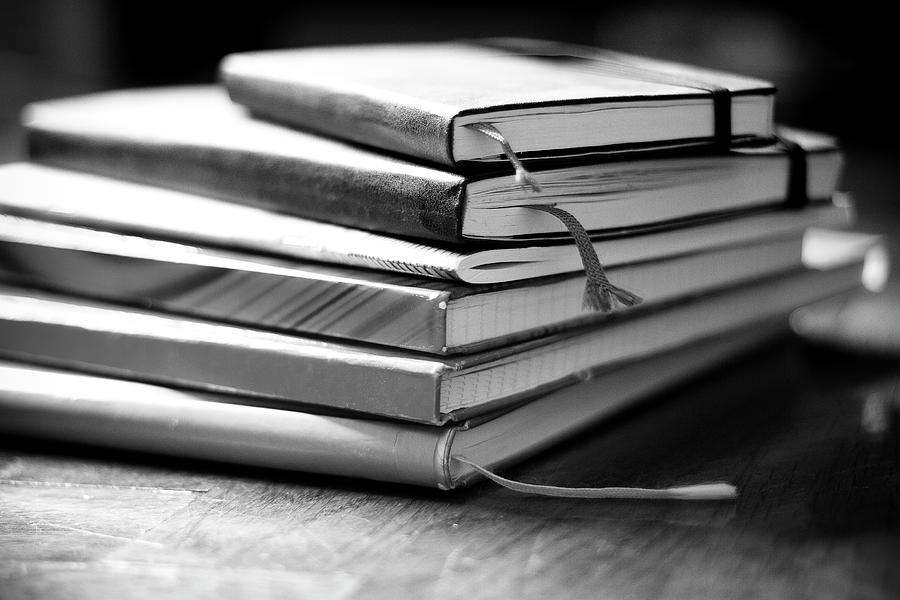 Horizontal Photograph - Stack Of Notebooks by FOTOGRAFIE melaniejoos