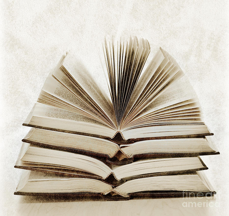 Books Photograph - Stack Of Open Books by Elena Elisseeva