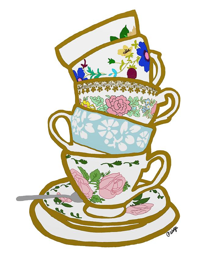 Stacked Teacups Drawing By Priscilla Wolfe