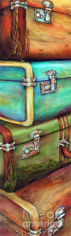 Stacked Suitcases Painting - Stacked Vintage Luggage by Winona Steunenberg