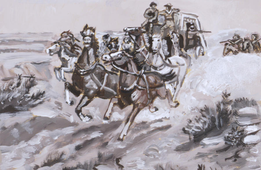 Historical Painting - Stagecoach Attacked Historical Vignette by Dawn Senior-Trask