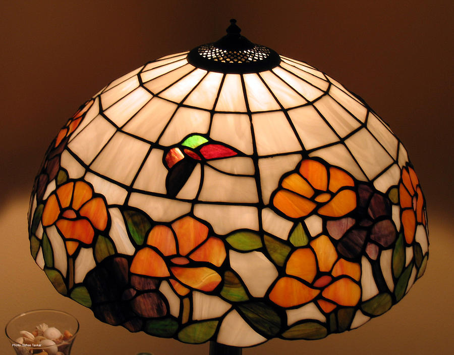 Stained Glass Art Photograph - Stained-glass Lampshade by Suhas Tavkar