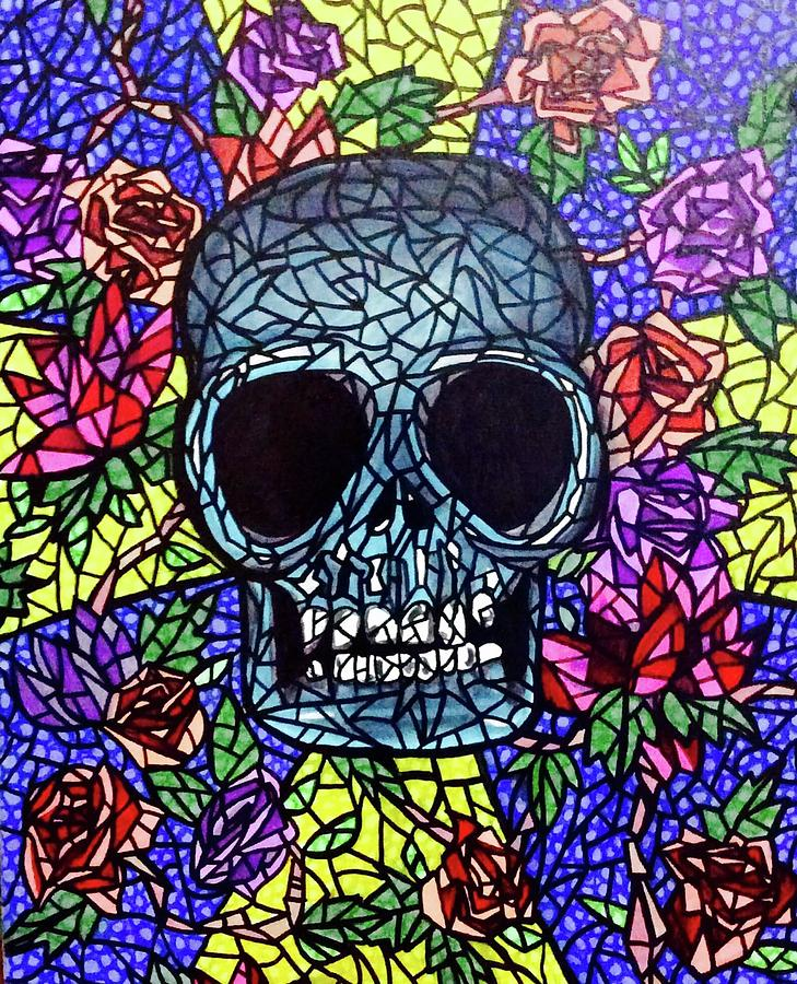 Stained Glass Skull Painting By Lori Teich