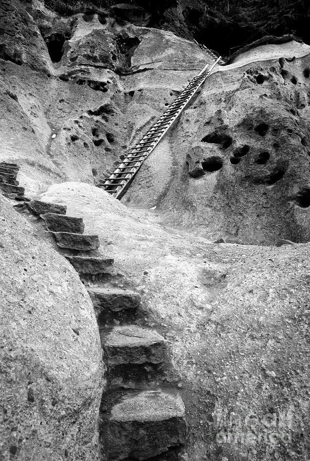 B&w Photograph - Stairways To The Kiva by Sandra Bronstein
