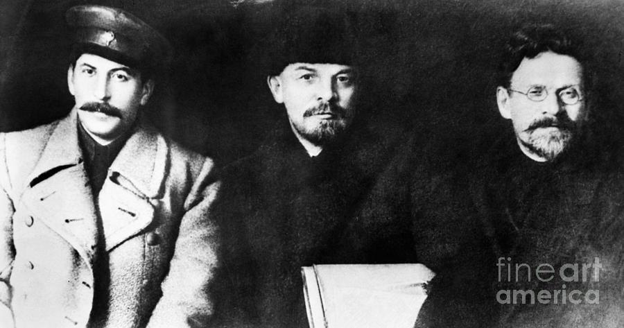 1919 Photograph - Stalin, Lenin & Trotsky by Granger