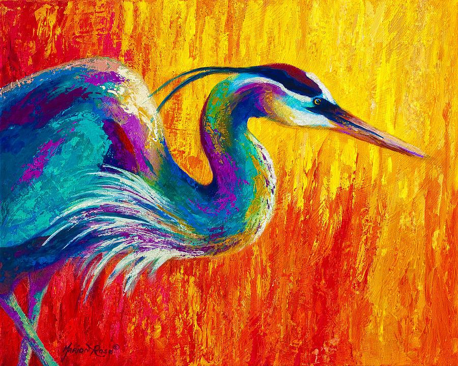 Stalking The Marsh - Great Blue Heron Painting