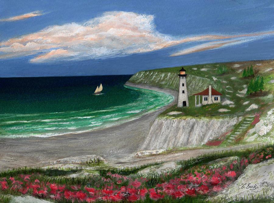 Lighthouse Ocean Seascape Sailboat Sailing Maine New England Coastal Gordon Beck  Painting - Standing Ready by Gordon Beck