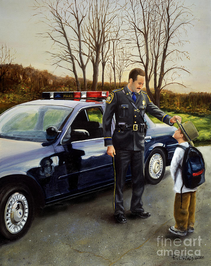 Police Officer Painting - Standing Tall by Paul Walsh