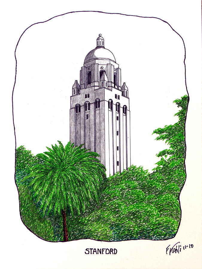 Pen And Ink Stanford University Campus Buildings Drawings Drawing - Stanford by Frederic Kohli