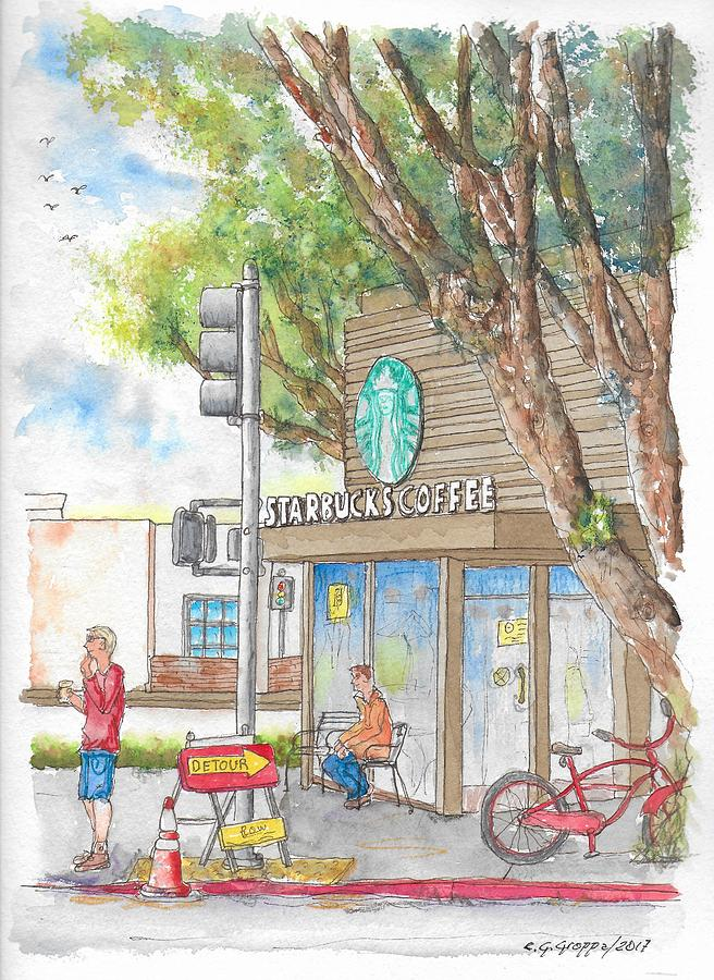 Starbucks Coffee In Robertson And Beverly Blvd., Beverly Hills, Ca Painting