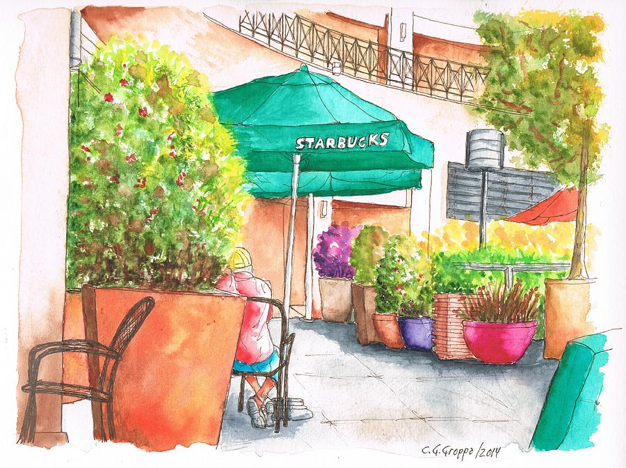 Starbucks Coffee, Sunset Blvd, And Cresent High, West Hollywood, Ca Painting