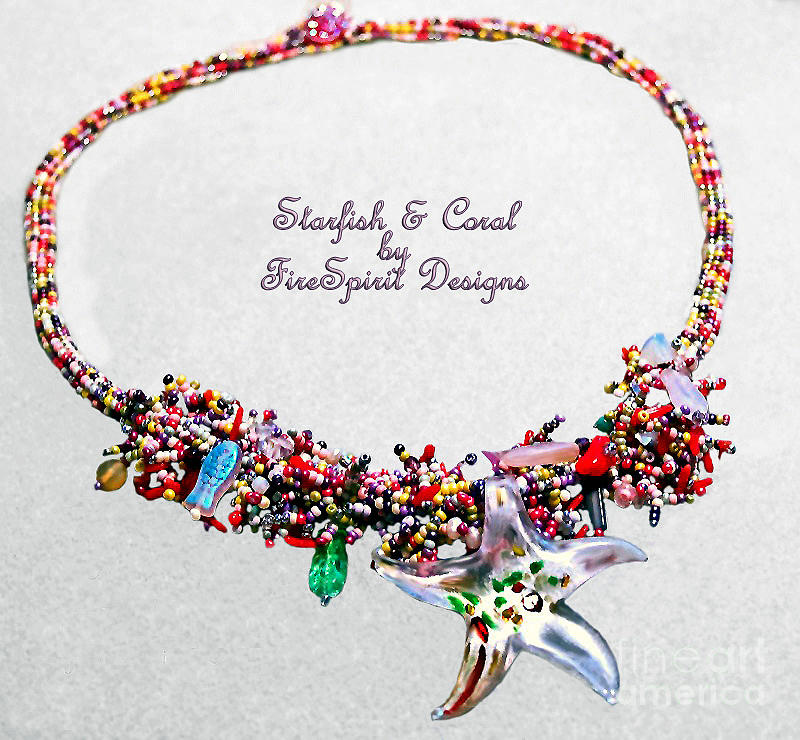 Handmade Necklace Jewelry - Starfish And Coral by Patricia Griffin Brett