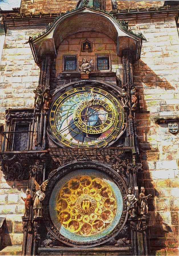 Prague Pastels Pastel - Staromestsky Orloj by Gordana Dokic Segedin
