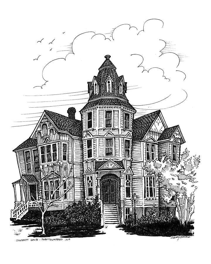 Victorian House Drawing - Starrett House by Ernestine Grindal