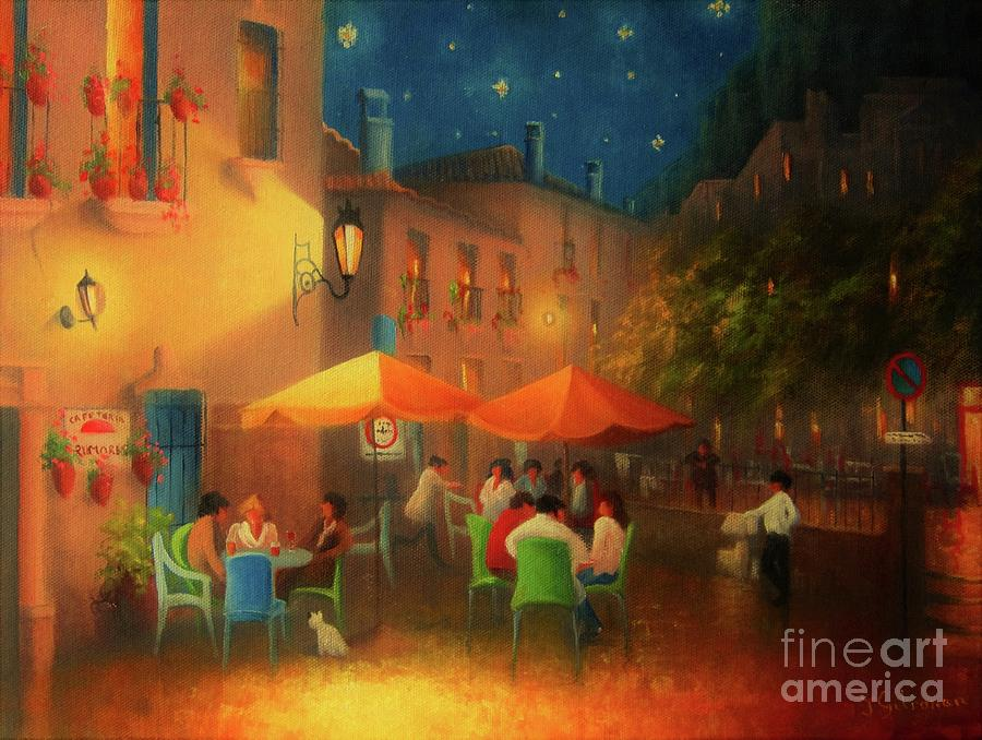 Joe Gilronan Painting - Starry Night Cafe Society by Joe Gilronan