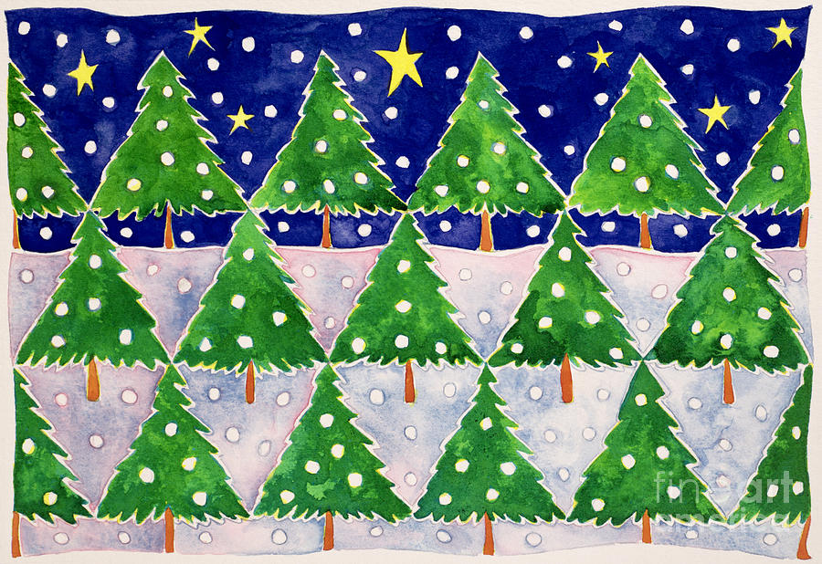 Christmas Tree; Trees; Winter; Snowing Painting - Stars And Snow by Cathy Baxter