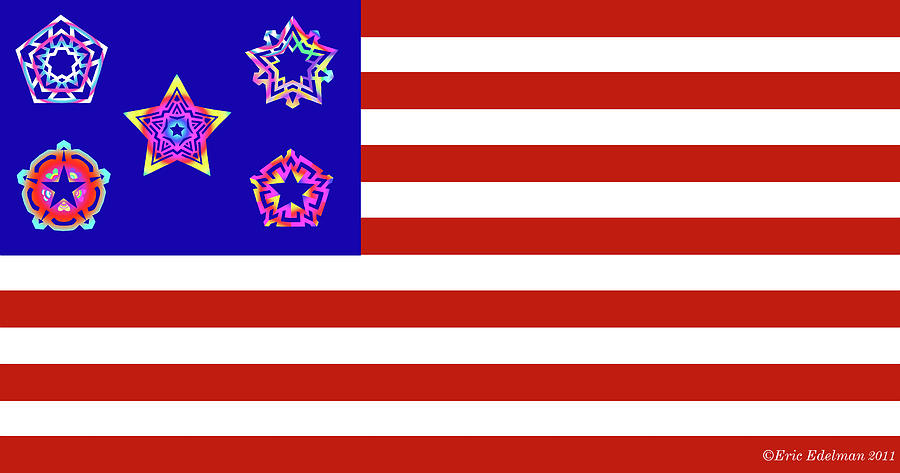 Pentacle Digital Art - Stars And Stripes Of Retrocollage by Eric Edelman