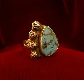 Silver Turquoise Jewelry - Stars In The Nite Sky  Turquoise Ring by Eddie Romero