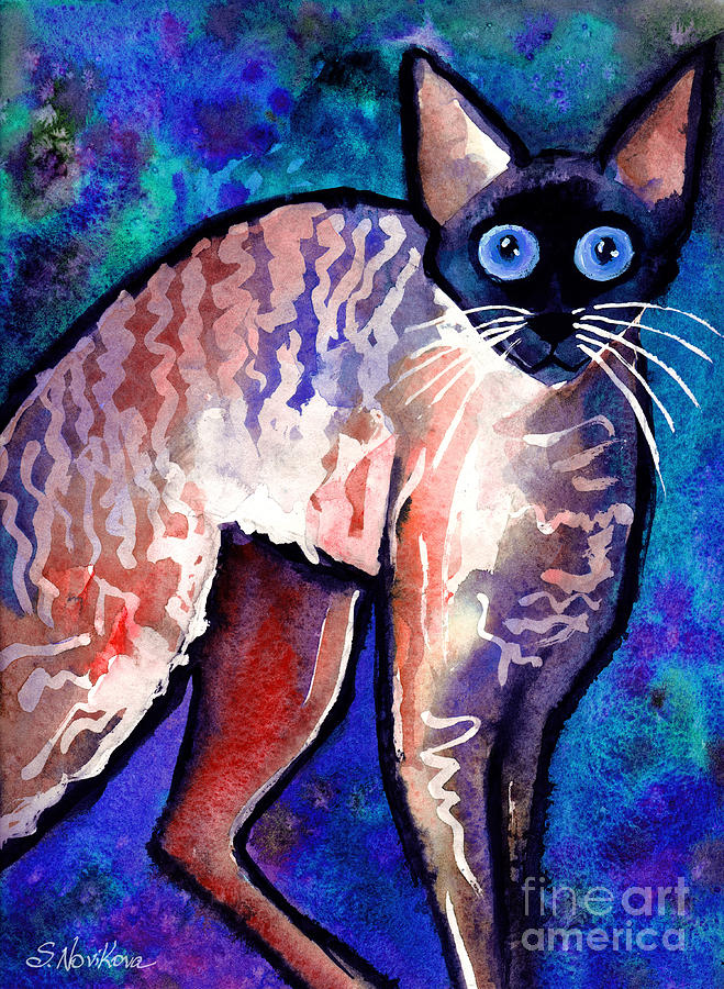 Cornish Rex Cat Painting Painting - Startled Cornish Rex Cat by Svetlana Novikova