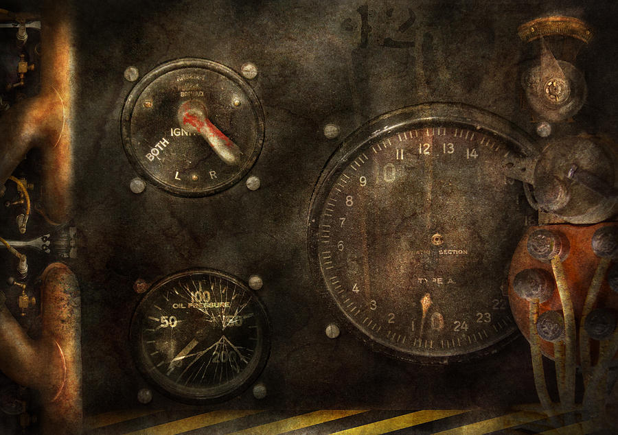 Hdr Photograph - Steampunk - Check Your Pressure by Mike Savad