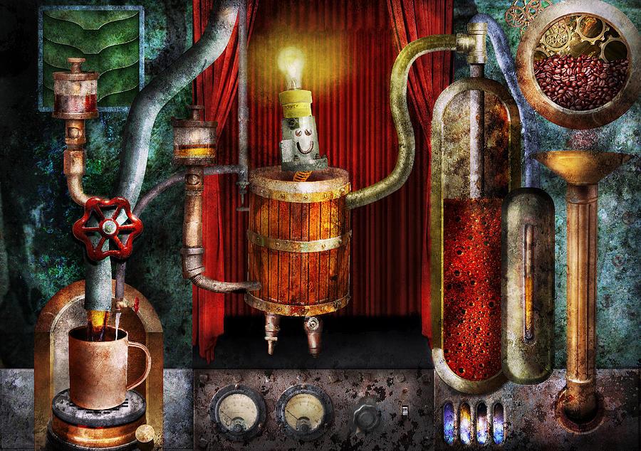 Suburbanscenes Photograph - Steampunk - Coffee Break by Mike Savad