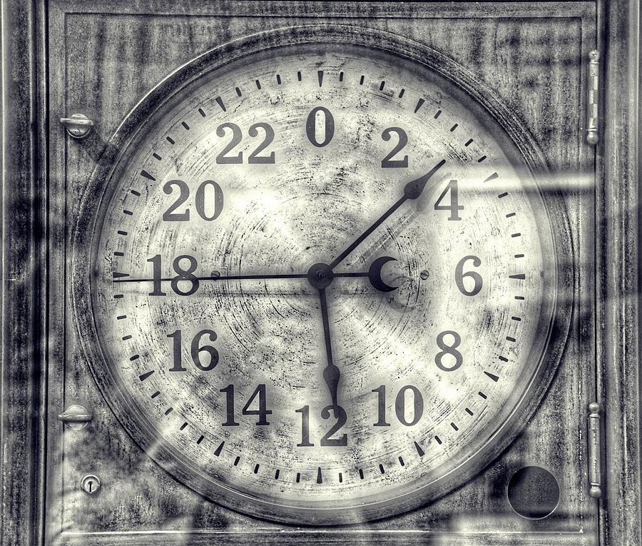 Steampunk - 24 Hour Antique Clock Cinematic Black And White Photograph