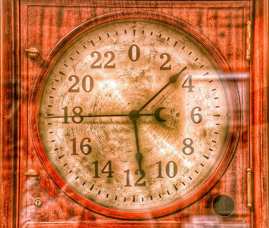 Steampunk - 24 Hour Antique Clock Photograph
