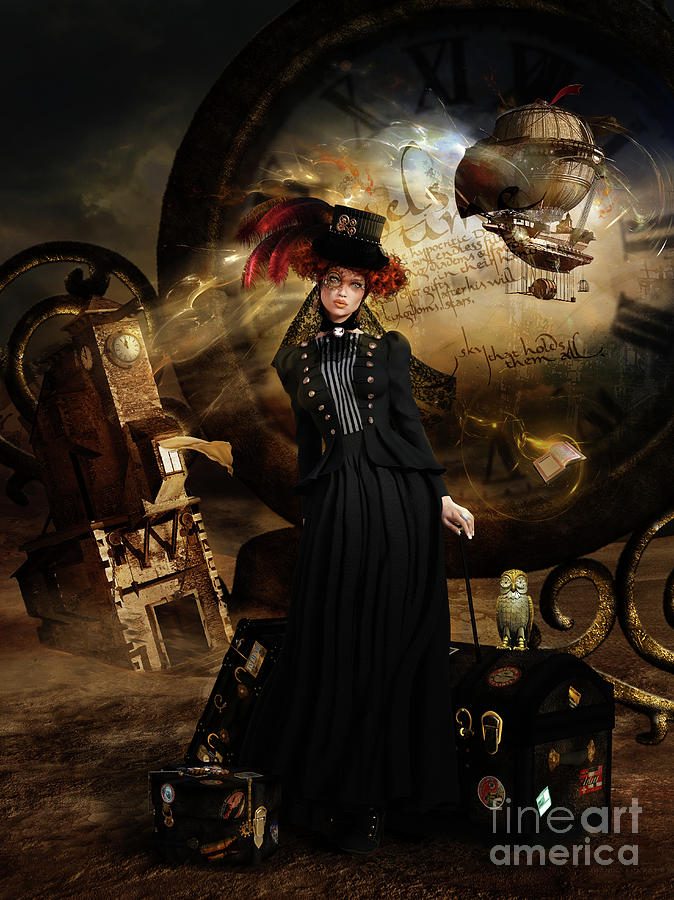 Steampunk Time Traveler Digital Art