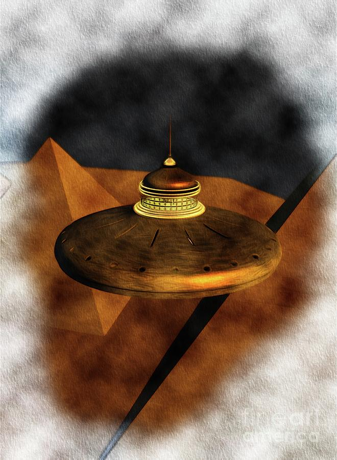 Steampunk Ufo In Ancient Egypt Painting