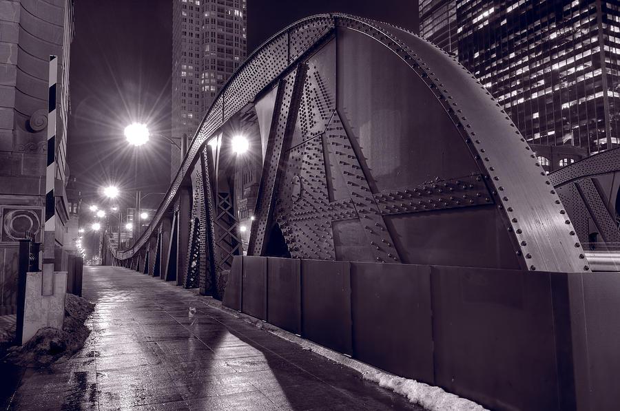 Bridge Photograph - Steel Bridge Chicago Black And White by Steve Gadomski