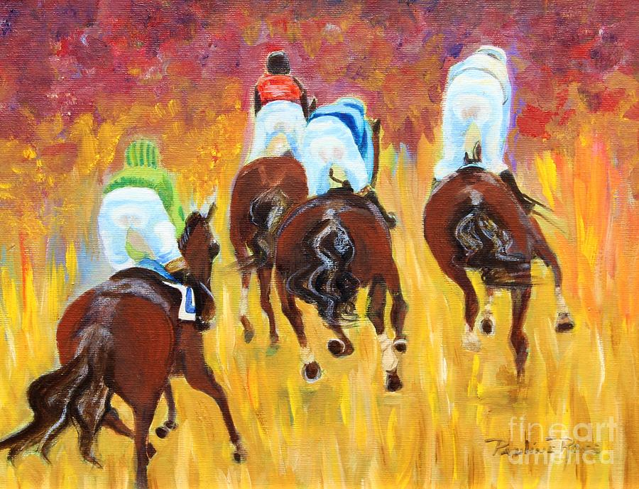 Horse Race Painting - Steeple Chase by Pauline Ross