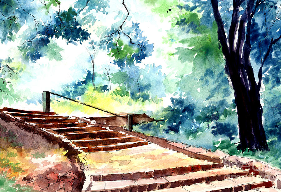 Landscape Painting - Steps To Eternity by Anil Nene