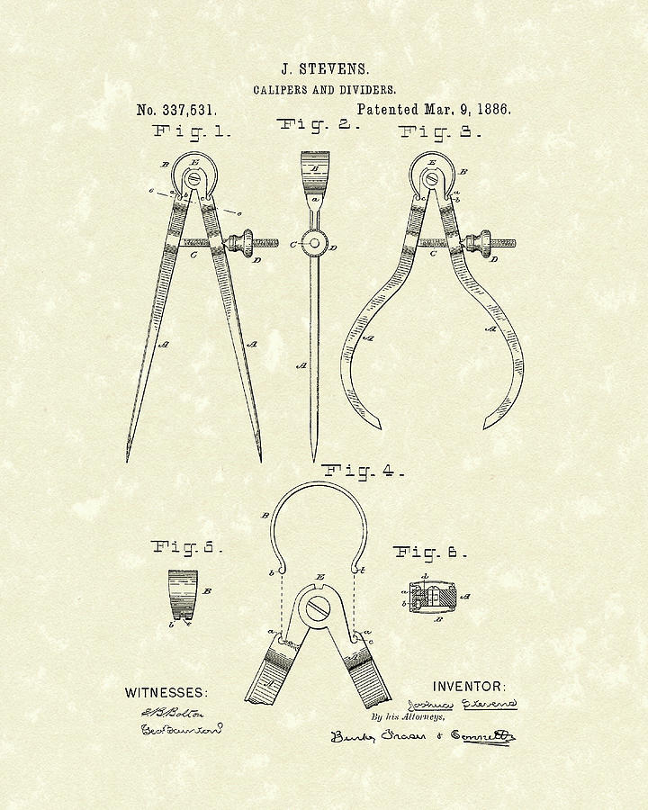 Stevens Drawing - Stevens Calipers And Dividers 1886 Patent Art by Prior Art Design