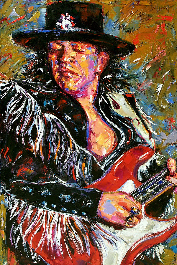 Stevie Ray Red Guitar Painting