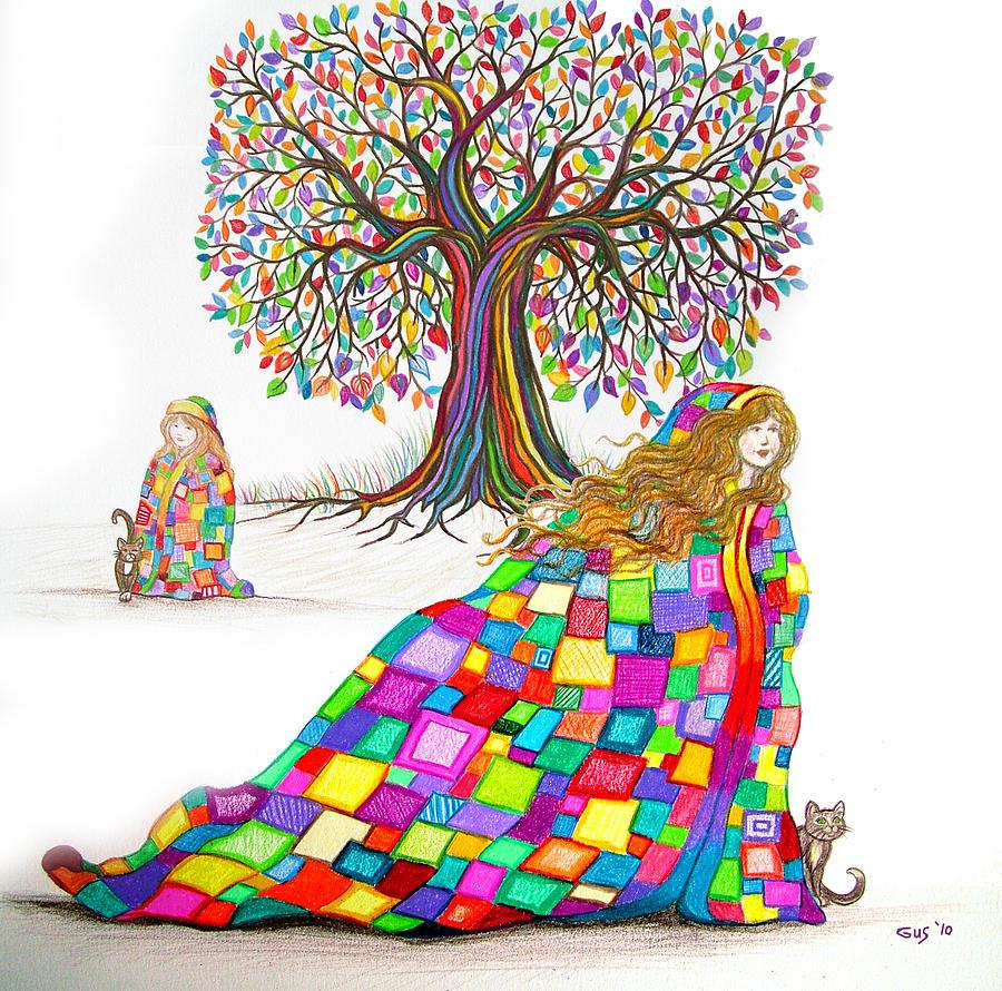 Rainbow Tree Dreams Drawing - Still Dreaming by Nick Gustafson