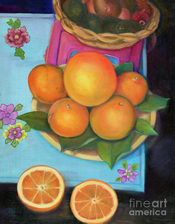 Still Life Painting - Still Life Oranges And Grapefruit by Marlene Book