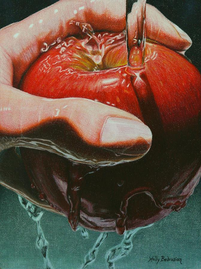Apple Drawing - Still Life Sabotage by Holly  Bedrosian