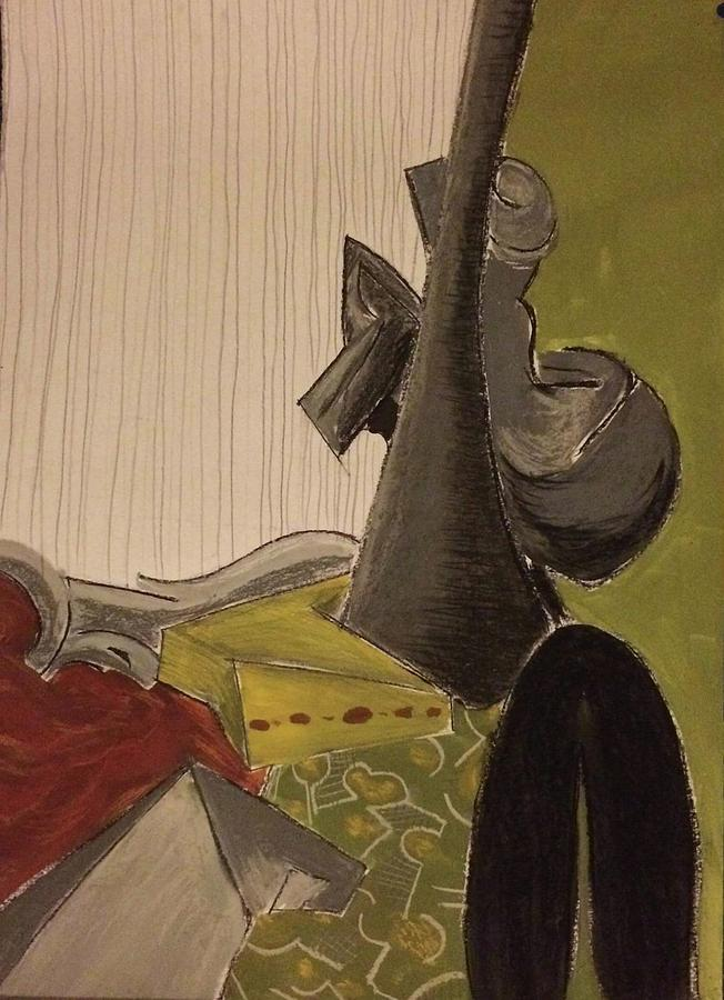 Still Life With A Black Horse- Cubism Pastel