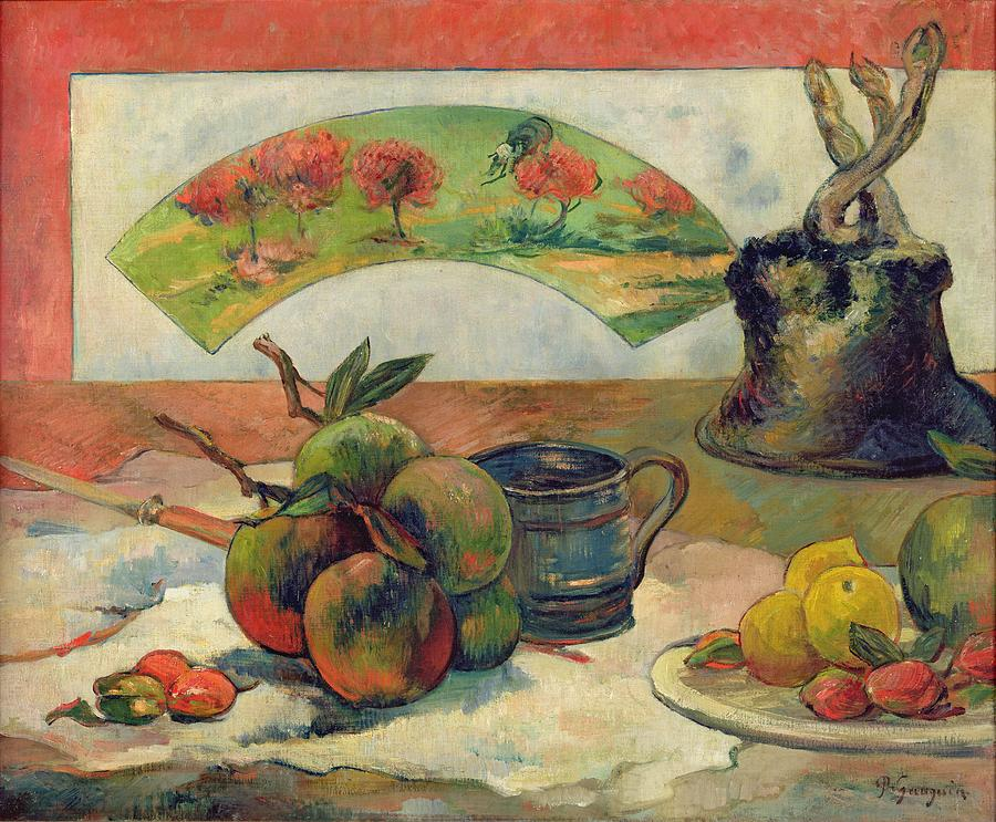 Still Life With A Fan Painting - Still Life With A Fan by Paul Gauguin