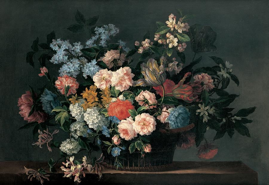 Flower Painting - Still Life With Basket Of Flowers by Jean-Baptiste Monnoyer