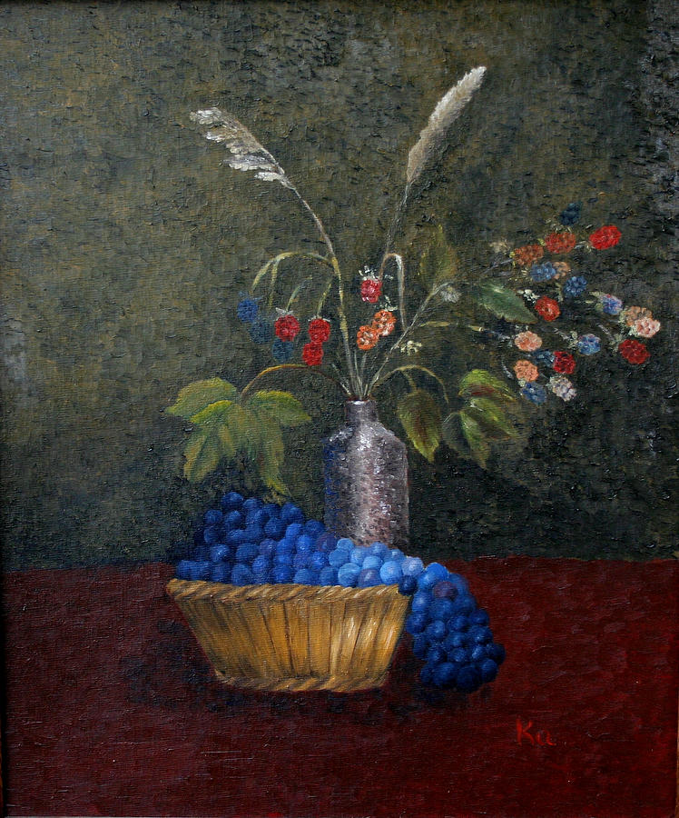 Fruit Painting - Still Life With Blue Fruit by Karin Eisermann