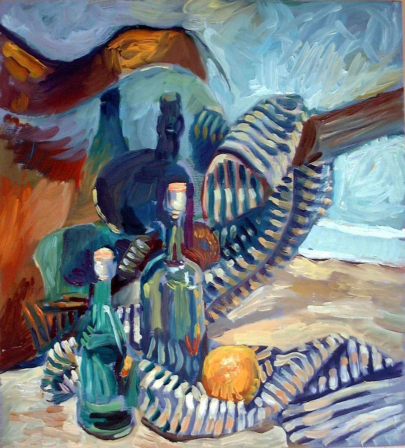 Still Life Painting - Still Life With Guitar by Piotr Antonow