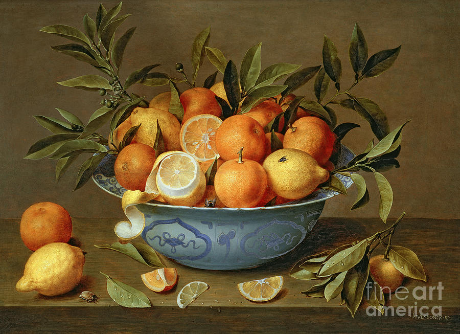 Still Life With Oranges And Lemons In A Wan Li Porcelain