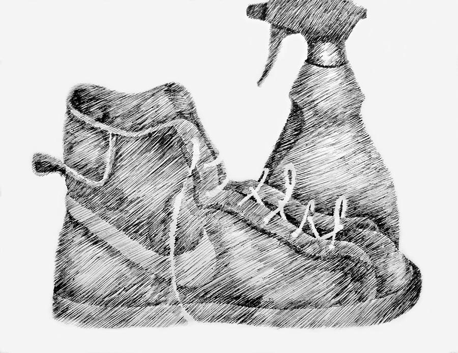 Pen Drawing - Still Life With Shoe And Spray Bottle by Michelle Calkins