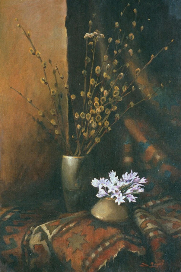 Armenia Painting - Still-life With Snow Drops by Tigran Ghulyan