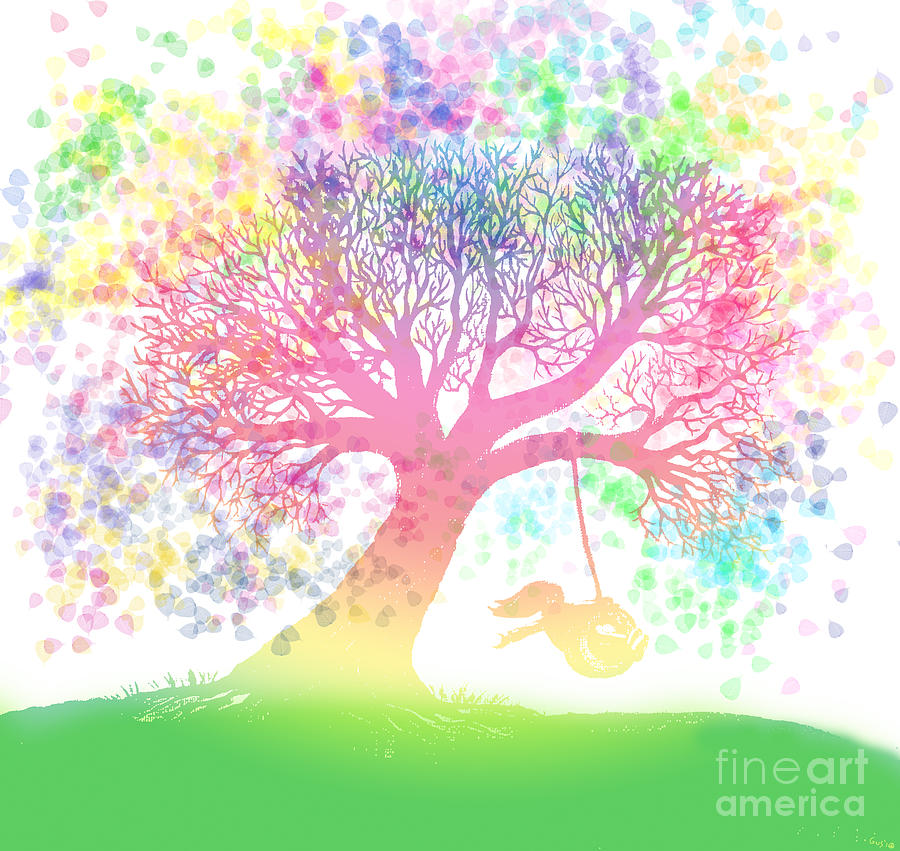 Rainbow Tree Dreams Painting - Still More Rainbow Tree Dreams 2 by Nick Gustafson